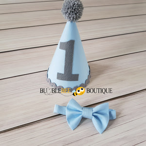 Baby Blue and Grey Party Hat and Bow Tie
