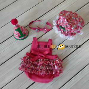 Luscious Watermelon Girls' Cake Smash Outfit - romper back view, headband, party hat & frilly mob cap (Shower cap)