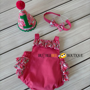 Luscious Watermelon Girls' Cake Smash Outfit - romper, headband, party hat
