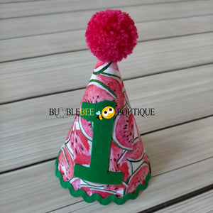 Luscious Watermelon Girls' Cake Smash Outfit - party hat