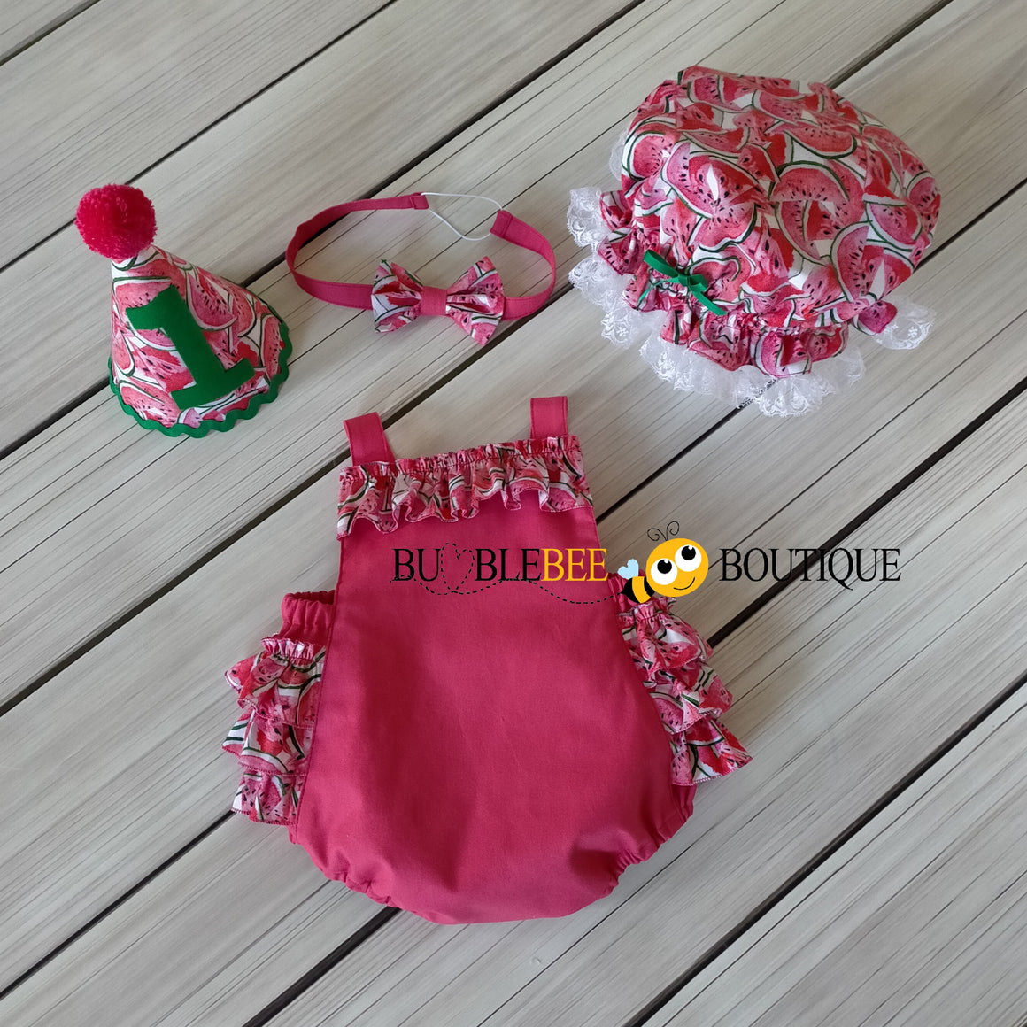 Luscious Watermelon Girls' Cake Smash Outfit - romper, headband, party hat & frilly mob cap (Shower cap) by Bumblebee Boutique