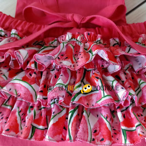 Luscious Watermelon Girls' Cake Smash Outfit - Close-up of romper back ruffles