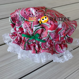 Luscious Watermelon Girls' Cake Smash Outfit -  frilly mob cap (Shower cap)