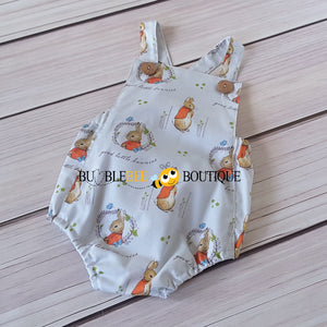 Peter Rabbit pale grey romper front view