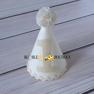 Plain Cream Party Hat with Cream trim