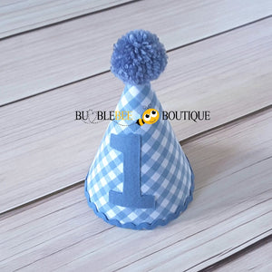 Charlie Chambray Blue & White Check Party Hat with Blue Trim