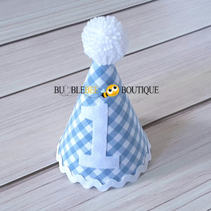 Charlie Chambray Blue & White Check Party Hat with White Trim