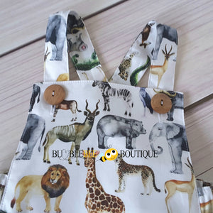 Out of Africa Jungle Animals Romper close up of buttons