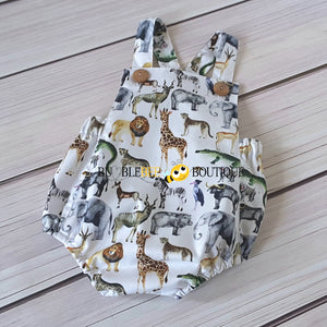 Out of Africa Jungle Safari Animals Romper front view