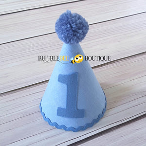 Georgie Chambray  Blue Party Hat with Blue  Trim