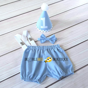 Georgie Chambray Blue Cake Smash Outfit with White Hat Trim