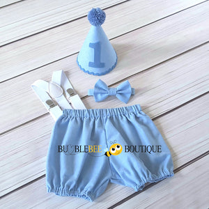 Georgie Chambray Blue Cake Smash Outfit with Blue Hat Trim