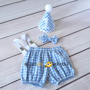 Charlie Chambray Blue & White Check Cake Smash Outfit with White Hat Trim