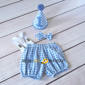Charlie Chambray Blue & White Check Cake Smash Outfit with Blue Hat Trim