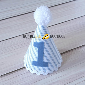 James White & Blue Striped Party Hat with Blue Trim