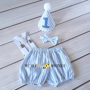 James White & Blue Striped Cake Smash Outfit with White Hat Trim