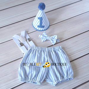 James White & Blue Striped Cake Smash Outfit with Blue Hat Trim