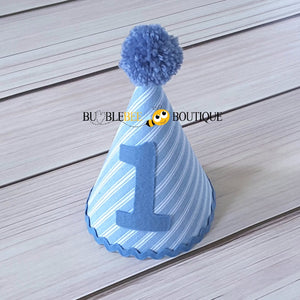 Thomas Chambray Blue & White Striped Party Hat with Blue Trim