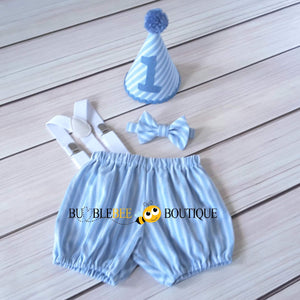 Thomas Chambray Blue & White Striped Cake Smash Outfit with Blue Hat Trim