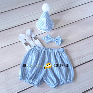 Thomas Chambray Blue & White Striped Cake Smash Outfit with White Hat Trim