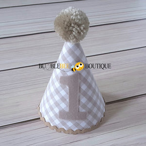 Charlie Beige & White Check Party Hat with Beige Trim