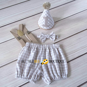 Charlie Beige & White Check Cake Smash Outfit with Beige Hat Trim & Suspenders