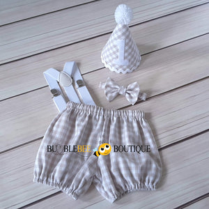Charlie Beige & White Check Cake Smash Outfit with White Hat Trim & Suspenders