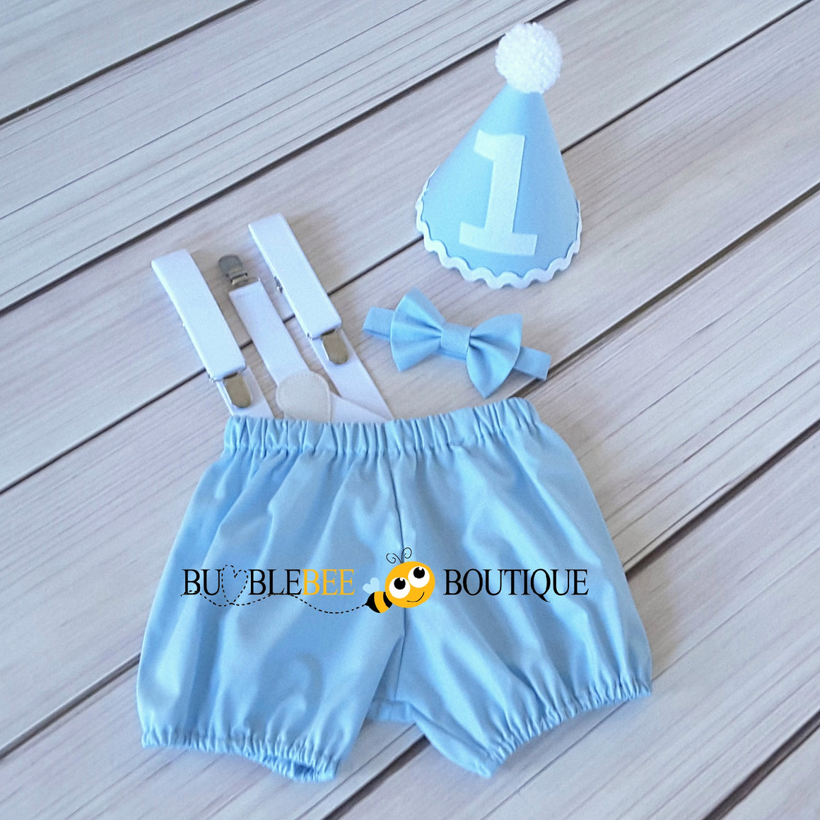 Baby Blue & White Cake Smash Outfit