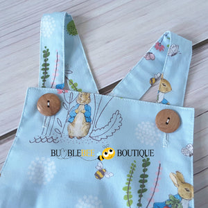 Peter Rabbit blue romper close-up of wooden button