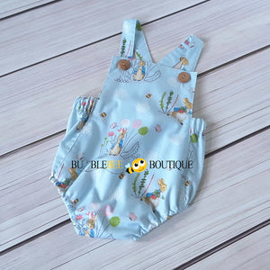 Peter Rabbit pale blue romper front view