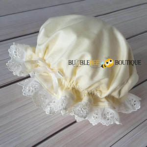 Cream Frilly Mob Cap by Bumblebee Boutique Australia