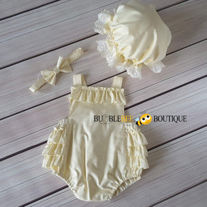 Cream Frilly Romper, Headband & Frilly Mob Cap front view, girls' cake smash outfit