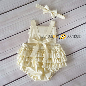Cream Frilly Romper & Headband Girls' Cake Smash Outfit back view