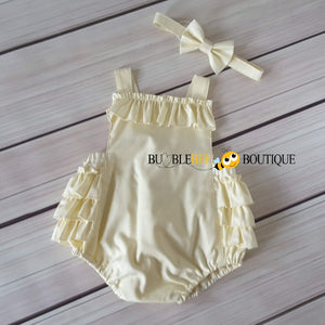 Cream Frilly Romper & Headband front view Girl's Cake Smash Outfit