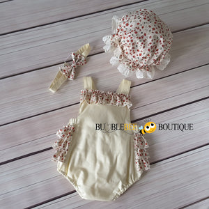 Rosebuds Cream Frilly Romper, Headband & Frilly Mob Cap front view Girls' Cake Smash Outfit