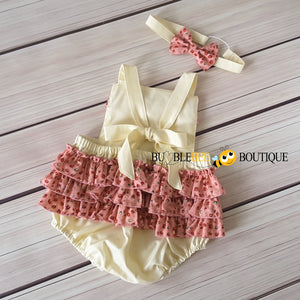Rosebuds Pink on Cream Frilly Romper & Headband Girls' Cake Smash Outfit back view