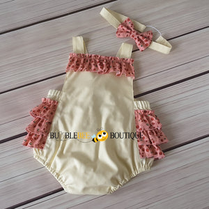 Rosebuds Pink on Cream Frilly Romper & Headband Girls' Cake Smash Outfit front view