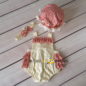 Rosebuds Pink on Cream Frilly Romper, Headband & Frilly Mob Cap Girls' Cake Smash Outfit