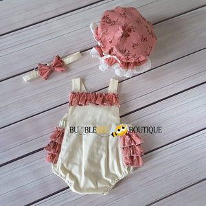 Vintage Floral Pink on Cream Frilly Romper, Headband & Frilly Mob Cap front view Girls' Cake Smash Outfit