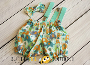Aqua elephants boys cake smash outfit