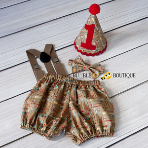 Adventure Arrows tan boys' cake smash outfit with dark beige suspenders