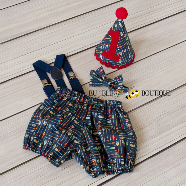 Adventure Arrows navy boys' cake smash outfit with navy suspenders
