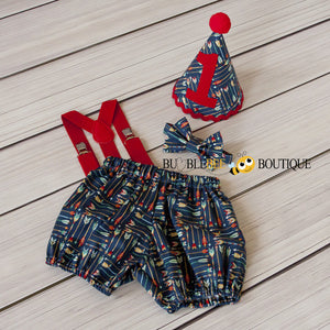 Adventure Arrows navy boys' cake smash outfit with red suspenders