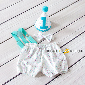 Bambini Dots Cake Smash Outfit with aqua suspenders & trim