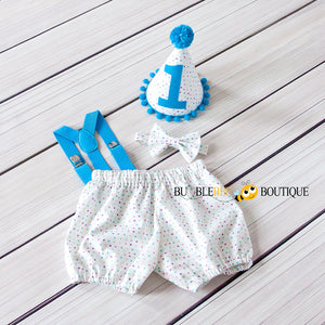 Bambini Dots Cake Smash Outfit with blue suspenders & trim