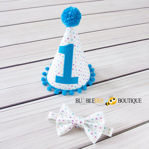 Bambini Dots Cake Smash Outfit Bow Tie & Party Hat
