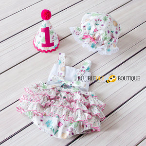 Bambini Floral Girl's Cake Smash Outfit back view