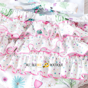 Bambini Floral Girl's Cake Smash Outfit back ruffles
