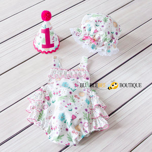 Bambini Floral Girl's Cake Smash Outfit front view