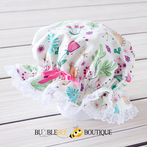 Bambini Floral Frilly Mob Cap